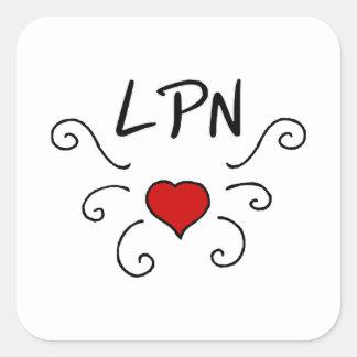Tatuaje del amor del oficio de enfermera de LPN Pegatina Cuadrada