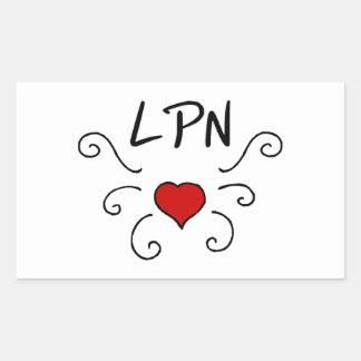 Tatuaje del amor del oficio de enfermera de LPN Pegatina Rectangular
