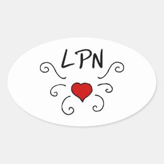 Tatuaje del amor del oficio de enfermera de LPN Pegatina Ovalada