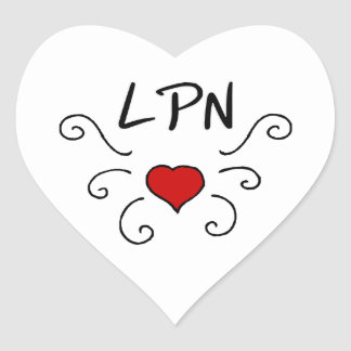 Tatuaje del amor del oficio de enfermera de LPN Pegatina En Forma De Corazón