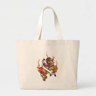 tatuaje del caballo loco en las llamas anaranjadas bolsa tela grande