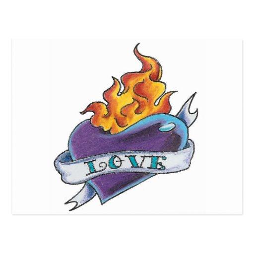 Tatuaje del corazón con la bandera postal