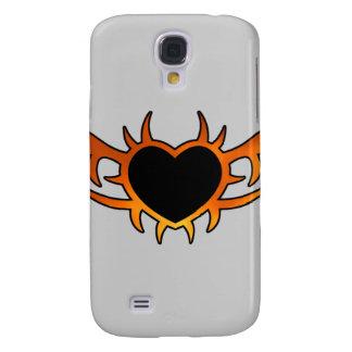 Tatuaje del corazón de la llama funda para galaxy s4