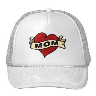 Tatuaje del corazón de la mamá gorro