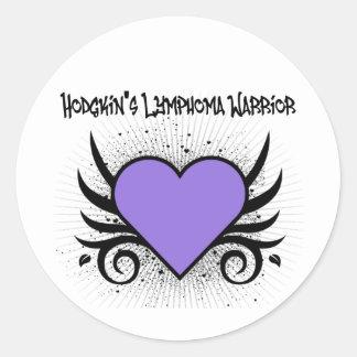 Tatuaje del corazón del guerrero de la linfoma de pegatinas redondas