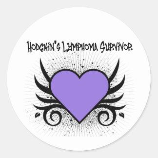 Tatuaje del corazón del superviviente de la pegatinas redondas