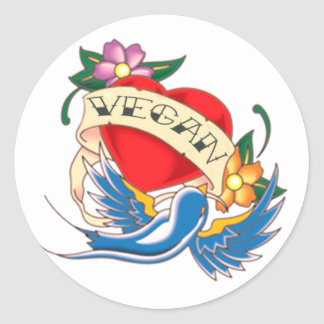 Tatuaje del corazón del vegano pegatinas redondas