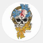 Tatuaje del cráneo de Escocia Etiqueta Redonda