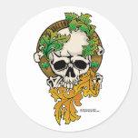 Tatuaje del cráneo de Irlanda Pegatinas Redondas