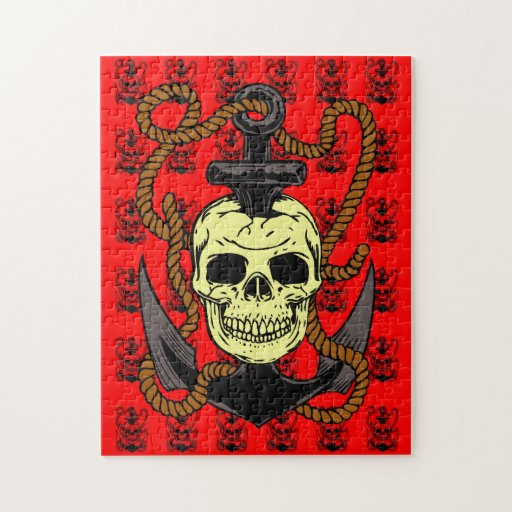 Tatuaje del cráneo del ancla puzzles con fotos