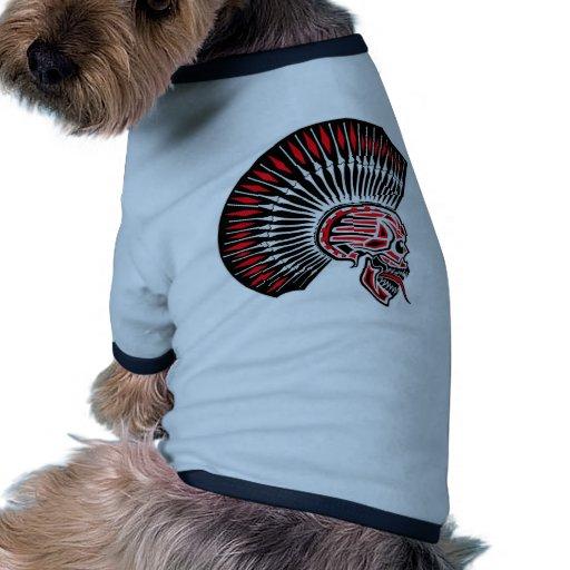 Tatuaje del cráneo del eje de balancín punky camiseta con mangas para perro