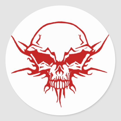 Tatuaje del cráneo etiquetas redondas