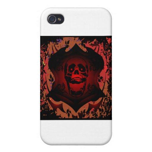 Tatuaje del cráneo y del fondo del Grunge iPhone 4/4S Funda