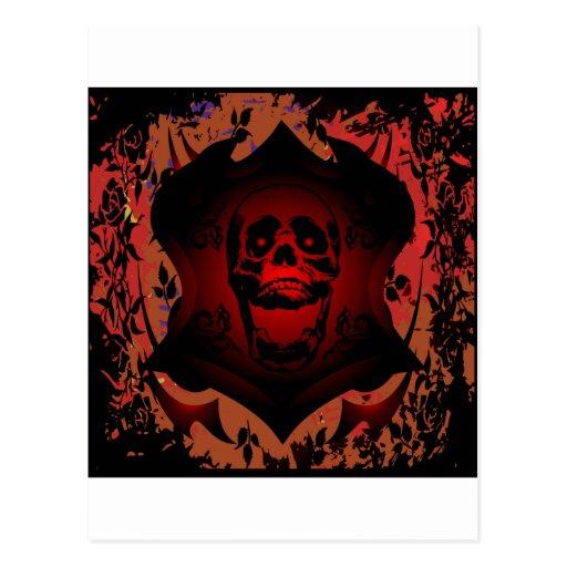 Tatuaje del cráneo y del fondo del Grunge Postales