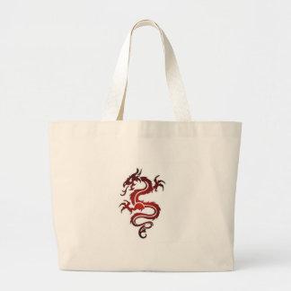 Tatuaje del dragón - rojo bolsa tela grande