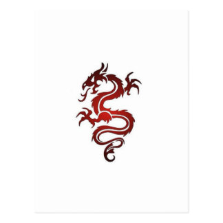 Tatuaje del dragón - rojo postal