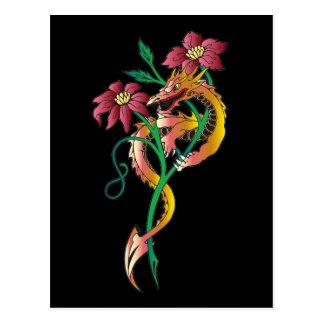 Tatuaje del dragón y de la flor tarjetas postales