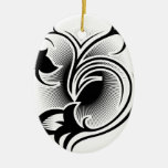 Tatuaje del iris adorno ovalado de cerámica