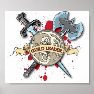Tatuaje del LÍDER del GREMIO - espada, hacha, y es Póster