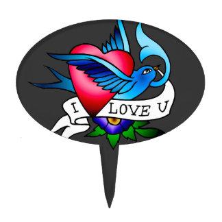 tatuaje del pájaro del vintage decoración para tarta