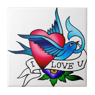 tatuaje del pájaro del vintage azulejo cuadrado pequeño