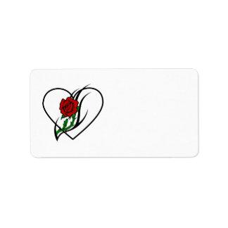 Tatuaje del rosa rojo etiqueta de dirección