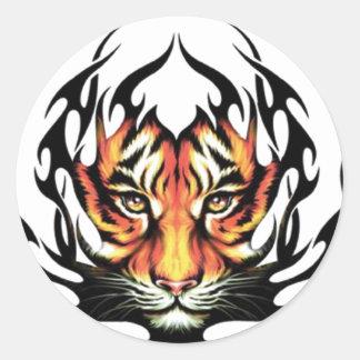 Tatuaje del tigre etiqueta redonda
