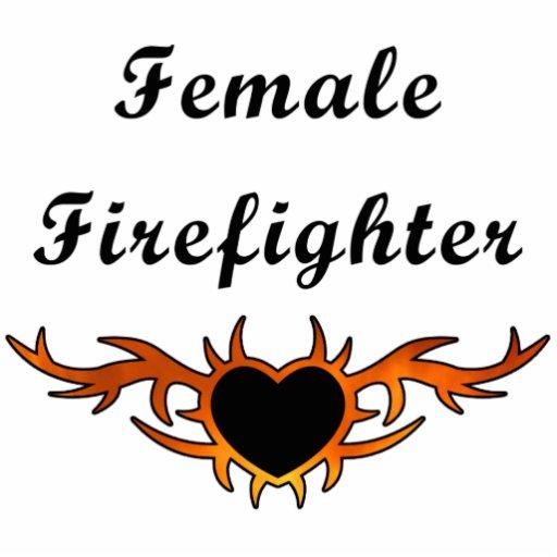 Tatuaje femenino del bombero esculturas fotográficas
