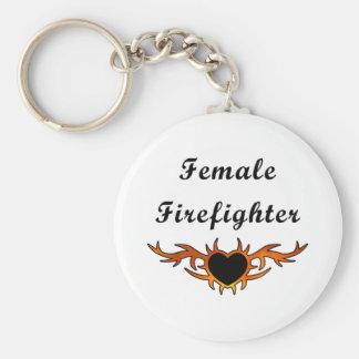 Tatuaje femenino del bombero llavero redondo tipo pin