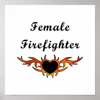 Tatuaje femenino del bombero poster