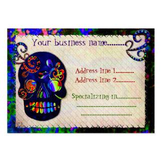 Tatuaje festivo mexicano de las aduanas del cráneo tarjetas de visita