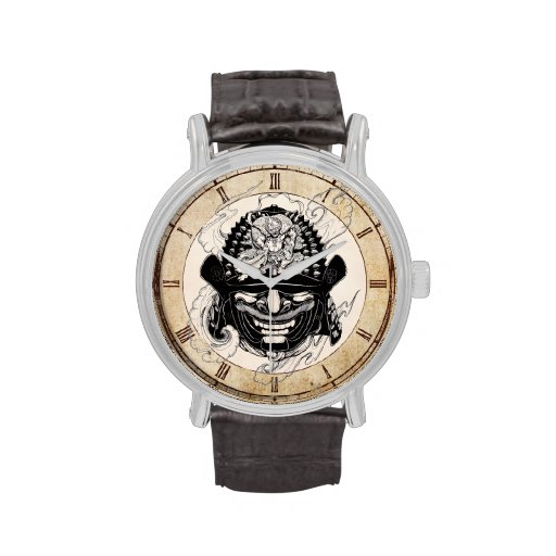 Tatuaje fresco del timón de la máscara del demonio relojes de pulsera