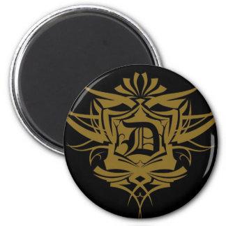 Tatuaje gótico del oro de D Imán Redondo 5 Cm