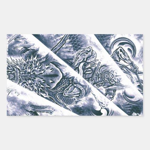 Tatuaje japonés clásico fresco del demonio pegatina rectangular