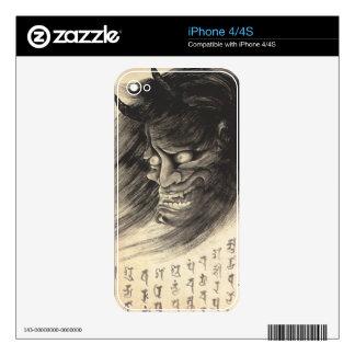 Tatuaje japonés de la cabeza del demonio del skins para eliPhone 4S