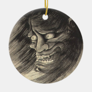 Tatuaje japonés de la cabeza del demonio del vinta ornaments para arbol de navidad