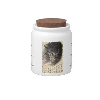 Tatuaje japonés de la cabeza del demonio del vinta jarras para caramelos