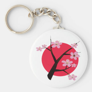 Tatuaje japonés de la flor de cerezo llavero redondo tipo pin