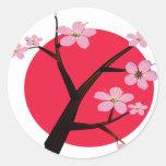 Tatuaje japonés de la flor de cerezo etiquetas redondas
