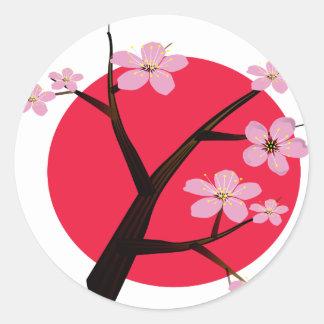Tatuaje japonés de la flor de cerezo pegatina redonda