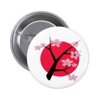 Tatuaje japonés de la flor de cerezo pin redondo 5 cm