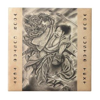 Tatuaje japonés de la lucha del demonio del azulejo cuadrado pequeño