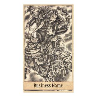 Tatuaje japonés de la lucha del demonio del samura tarjeta de negocio