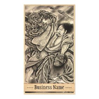 Tatuaje japonés de la lucha del demonio del samura tarjeta personal
