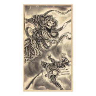 Tatuaje japonés de la lucha del demonio del samura tarjetas de negocios