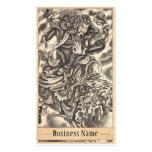 Tatuaje japonés de la lucha del demonio del samura tarjetas de visita