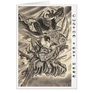 Tatuaje japonés de la lucha del samurai del demoni tarjeta pequeña
