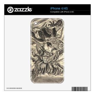 Tatuaje japonés de la lucha del samurai del iPhone 4S skins
