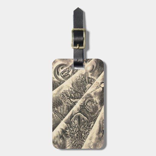 Tatuaje japonés de la tinta del demonio del etiquetas bolsas