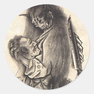 Tatuaje japonés de la tinta del demonio del etiqueta redonda